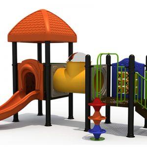 Speeltoren met glijbaan en tunnel