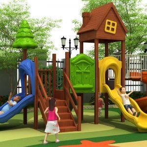 Houten huisje speeltuin met 3 glijbanen