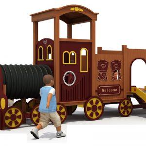 Houten trein speeltuin