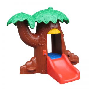Boom speelhuisje met glijbaan